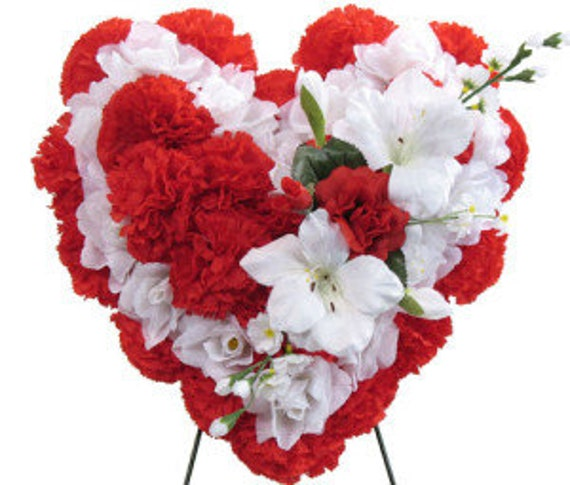 SILK FLOWER HEART Easel Mount in Deluxe Red for grave-site presentation in remembrance of loved ones -