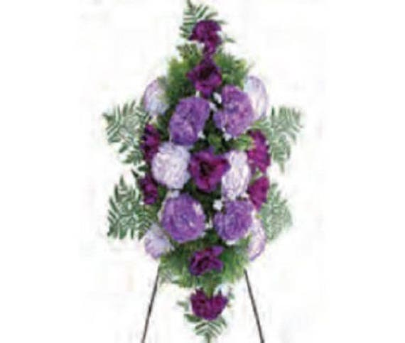 SPRAY of SILK Flowers, a Deluxe Large PURPLE for Grave-site Presentation in Remembrance of Loved Ones. Easel Mounted
