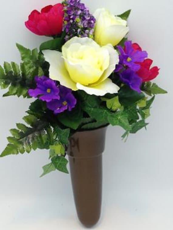 Crypt Mausoleum Vase & Silk Flowers w/ Epoxy Disc Base Ring