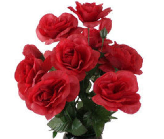 DIY Cemetery BOUQUET of red Open Rose (refill) for Grave-site Presentation in Remembrance of Loved Ones Or Home Garden Use