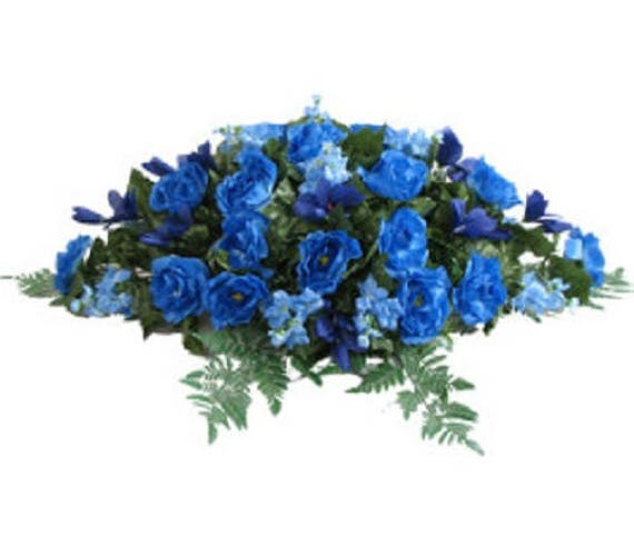 FLOWER SADDLE in Deluxe Silk BLUE for Grave-site Presentation in Remembrance of Loved Ones.