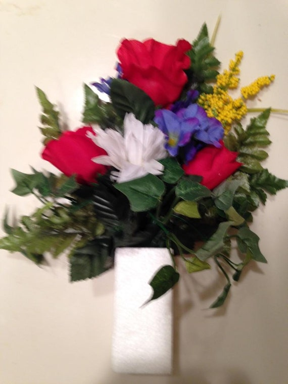DIY Crypt / Mausoleum Bouquet of Silk ROSES, OXALIS, Ivy for Presentation in Remembrance of Loved Ones -