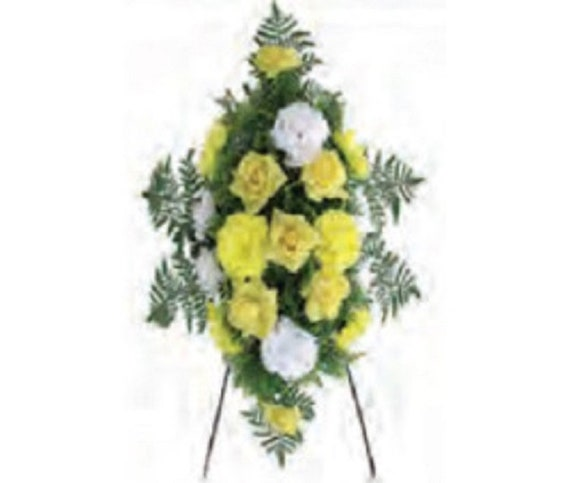 SILK FLOWER SPRAY in Deluxe Yellow Easel Mount for Grave-site Presentation in Remembrance of Loved Ones -