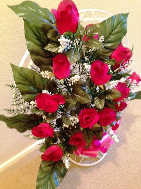 Cemetery Silk flower RED ROSEBUDS, Hoop Handle for Grave-site Presentation in Remembrance of Loved Ones -