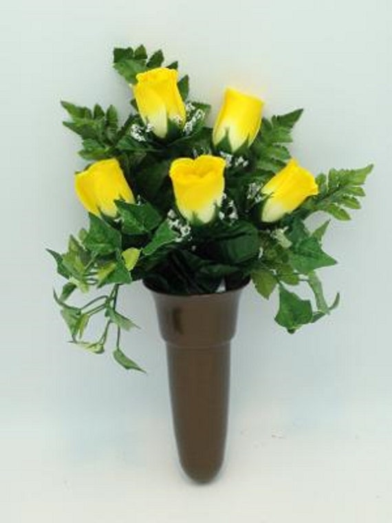 Crypt Mausoleum Vase & Yellow Rose Silk Flowers w/ Ring Bolt Support