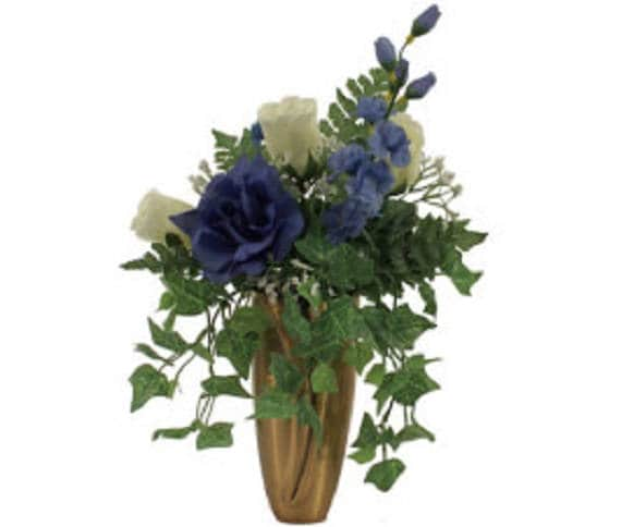 CRYPT / MAUSOLEUM Bouquet of Silk ROSES, Delphiniums, Bell Flower, Baby's Breath, Ivy for Presentation in Remembrance of Loved Ones -