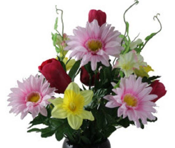 Cemetery Vase of DAFFODIL Red TULIP DAISY for Grave-site Presentation in Remembrance of Loved Ones -