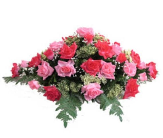 SILK FLOWER SADDLE for Headstone Mount in Deluxe Silk Pink for Grave-site Presentation in Remembrance of Loved Ones -