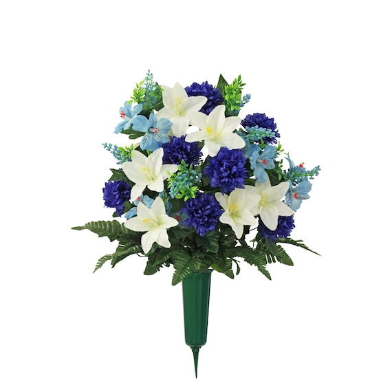 Cemetery Vase of Silk Blue Mum Lilly for Grave-site Presentation of Loved Ones -