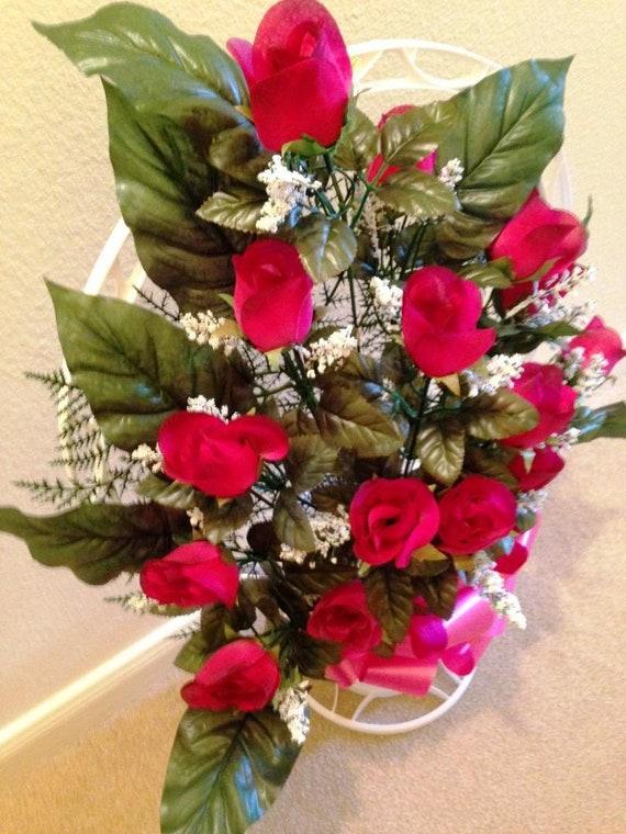 CEMETERY SILK Flower Burgundy ROSEBUDS, Hoop Handle Basket for Grave-site Presentation in Remembrance of Loved Ones -