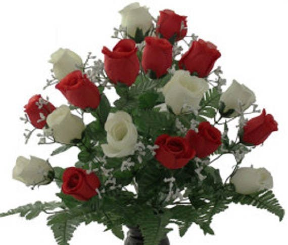 Cemetery vase of ROSES Galore Red and White Silk DELUXE for Grave-site Presentation in Remembrance of Loved Ones -