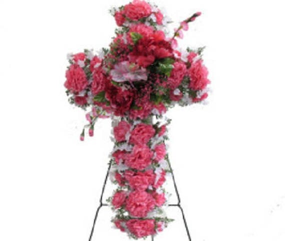 Silk Flower CROSS Large Deluxe PINK Easel Mount for Grave-site Presentation in Remembrance of Loved Ones -