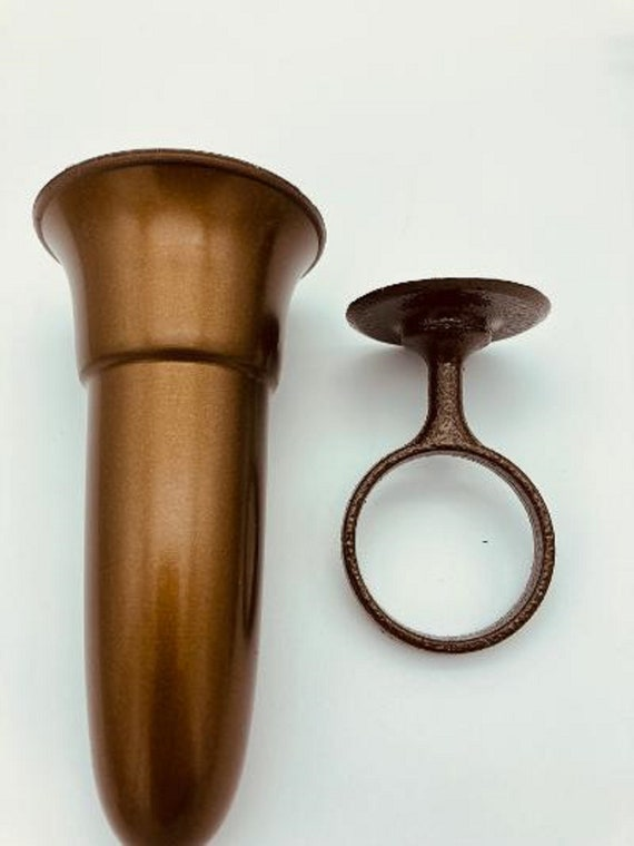 Mausoleum Crypt Vase 5.5 inch - (Epoxy) Disc Base Ring Support -