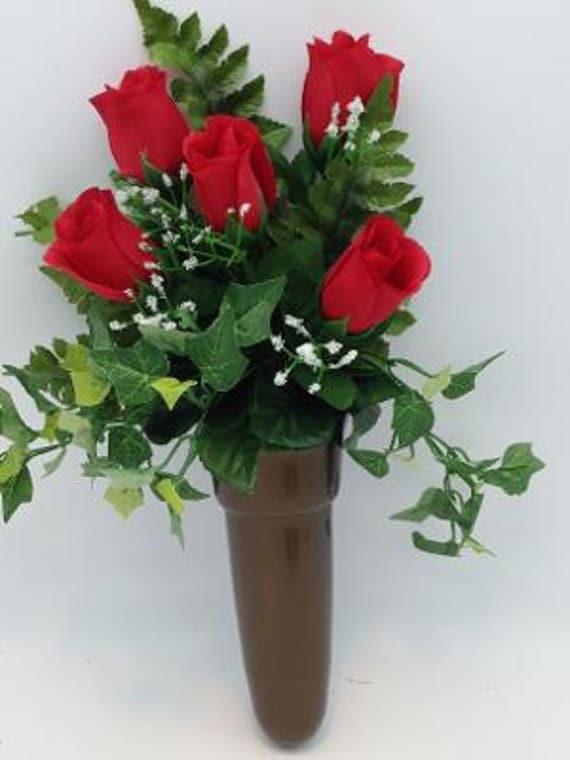 "Crypt Mausoleum Vase & Red Rose Silk Flowers w/ Ring Bolt Support for Inverted ""V"""
