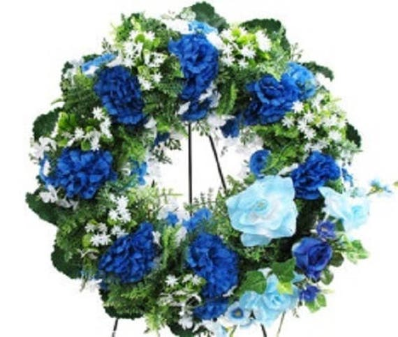 SILK WREATH in BLUE Deluxe Large Easel Mount for grave-site presentation in remembrance of loved ones -