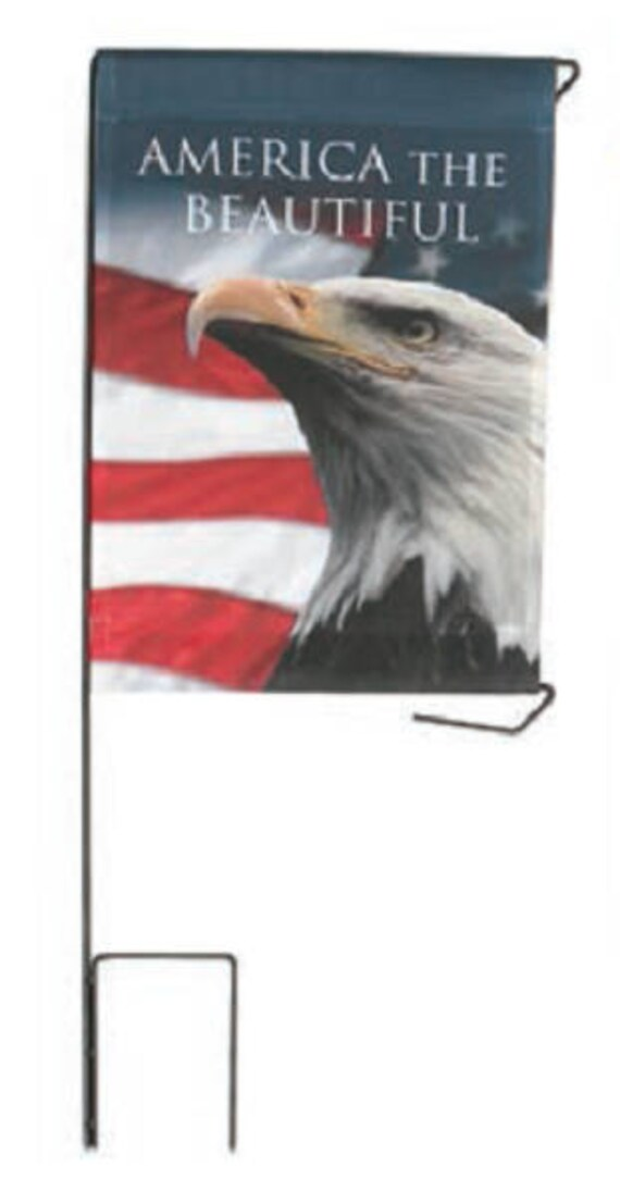 """Cemetery DIY BANNER """"America The Beautiful"""" for Grave-site Presentation in Remembrance of Loved Ones or Home Garden Use -"""