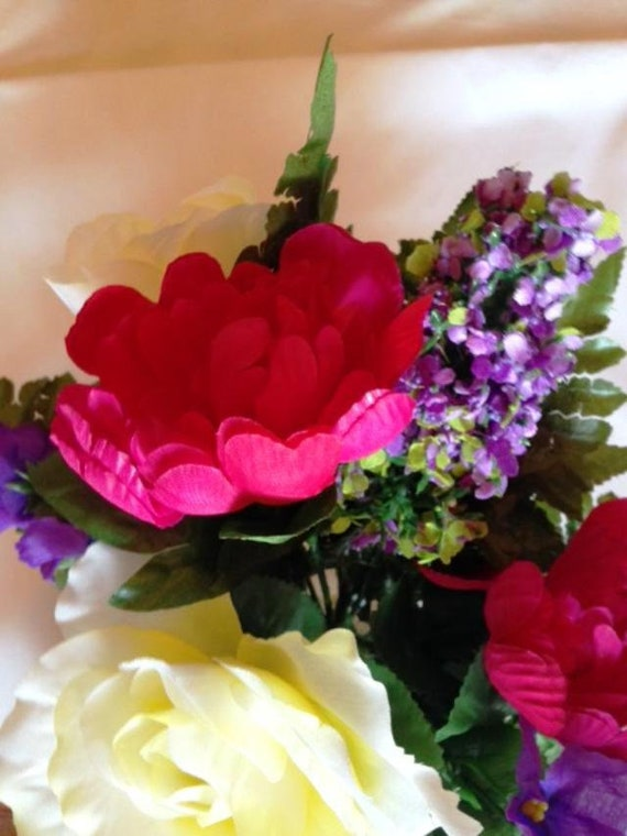 CRYPT / MAUSOLEUM Bouquet of Rose Peony Hydrangea IVY for Presentation in Remembrance of Loved Ones -
