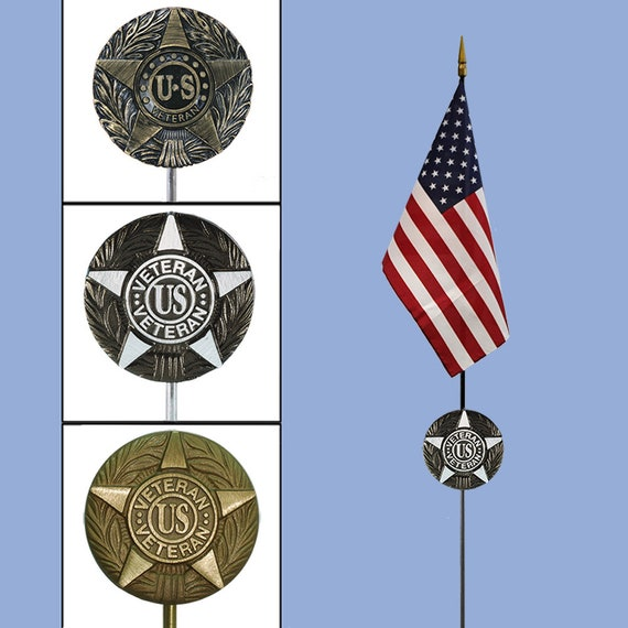 DIY Cemetery Military Emblem Faced Aluminum METAL Flag Holder for Grave-site Presentation in Honor of Loved Ones or Home Use -