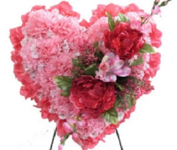 SILK FLOWER HEART in Deluxe Pink Easel Mount for grave-site presentation in remembrance of loved ones -