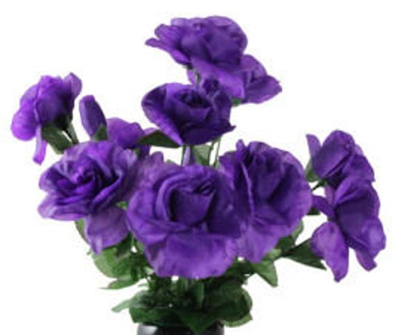 DIY Cemetery BOUQUET of Purple Open Rose (refill) for Grave-site Presentation in Remembrance of Loved Ones Or Home Garden Use