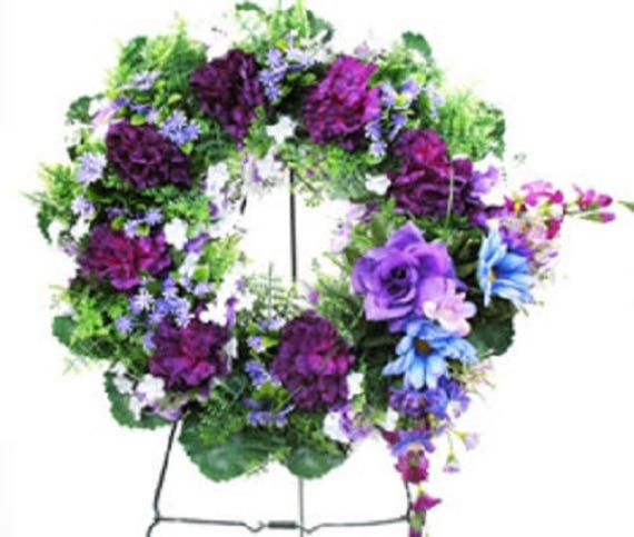 SILK WREATH Large PURPLE Deluxe Easel Mount for grave-site presentation in remembrance of loved ones -