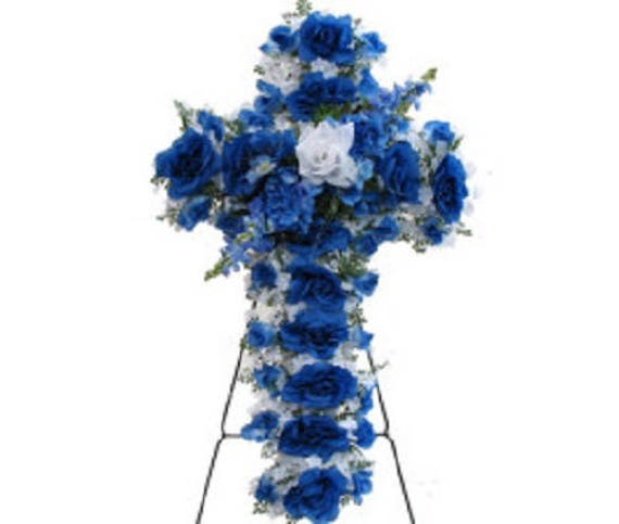 Silk flower CROSS in BLUE Easel Mount for Grave-site Presentation in Remembrance of Loved Ones -
