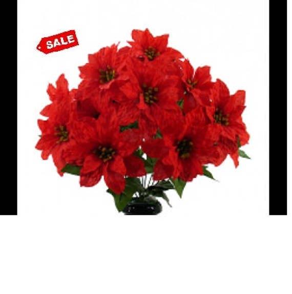 Poinsettia Silk Flowers W Vase Etsy
