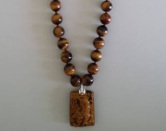 Tiger Eye Necklace with Pendant of a Tiger