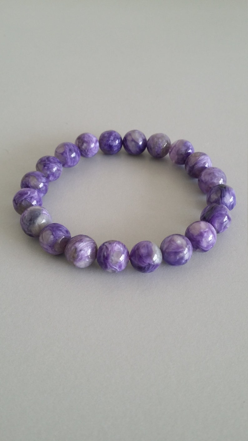 10mm Round Beads Charoite Stretch Bracelet Gemstone of Inspiration and Unconditional Love