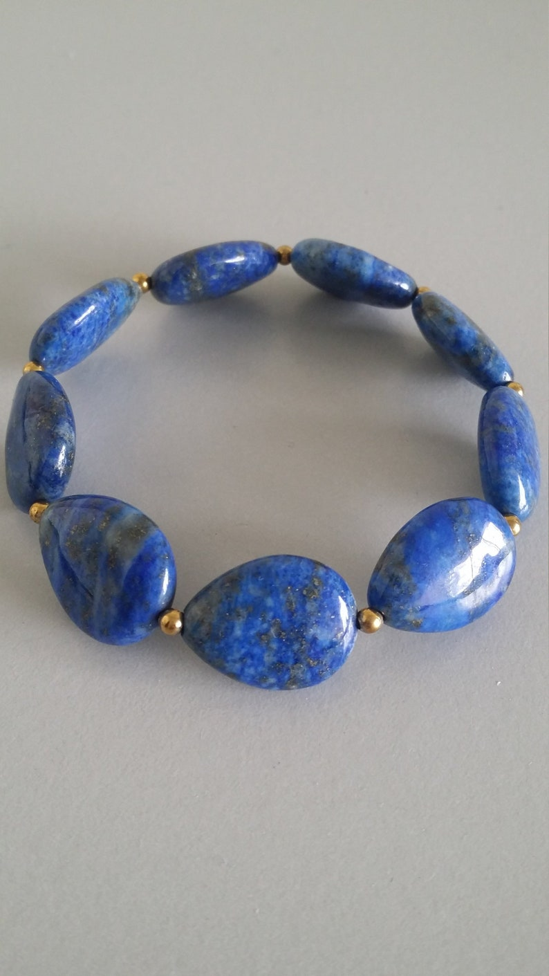 Lapis Lazuli Stretch Bracelet with Gold Filled Spacer Balls Gemstone of Protection and Harmony