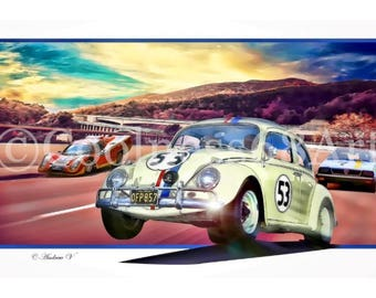Herbie Goes To Monte Carlo 3D Style Original Art Print