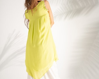 c79c73dc5ea Mustard tunic top,Assymetric dress,Oversize top,Party top,Cocktail top,Summer  top,Long tunic,Loose tunic,Beach tunic,Kaftan tunic,Sheer top