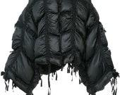 Oversized black jacket Quilted bomber Loose coat Plus size winter jacket Winter coat Avant Garde womens jacket Asymmetric black coat
