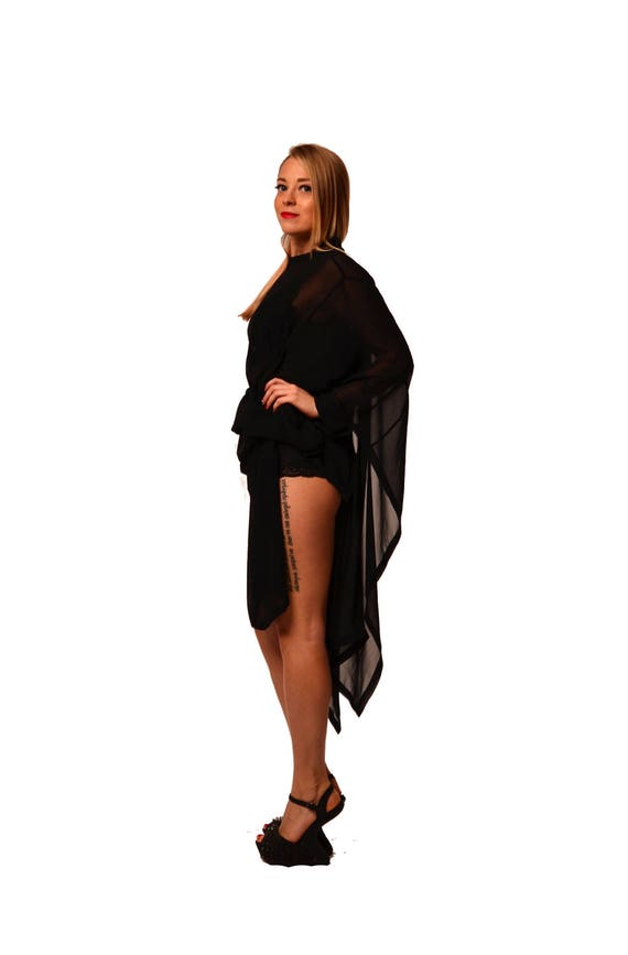 Sexy tunic kaftan tunic Assymetric Black Extravagant dress top Plus zize Black black loose dress Black top Party top sheer Oversized anq5H