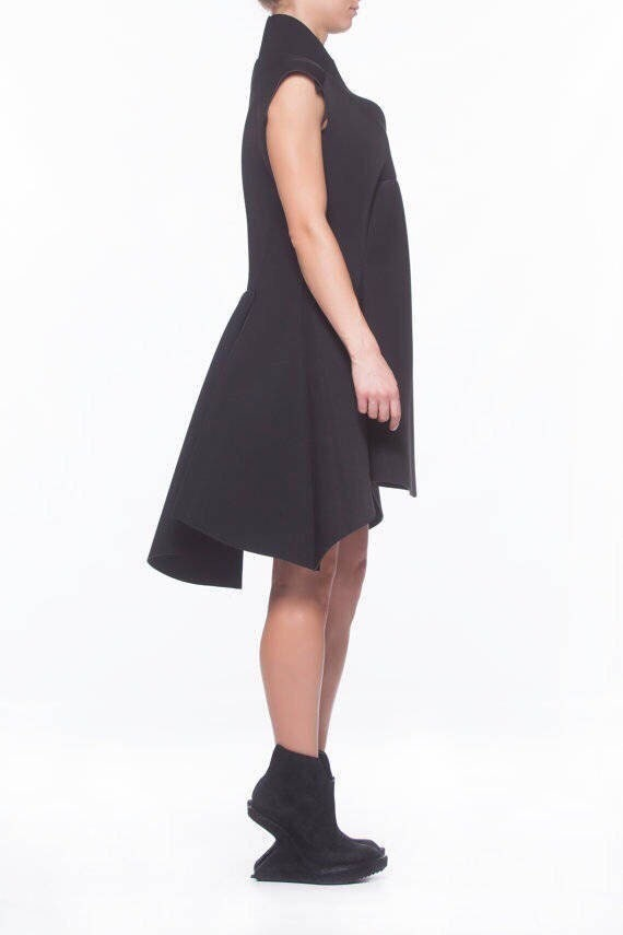 Line Tulip Low Goth Asymmetric A Black Dress Gothic Dress Dress High High Dress Dress Collar Black Dress Dress Dress Neoprene FwaxwURq