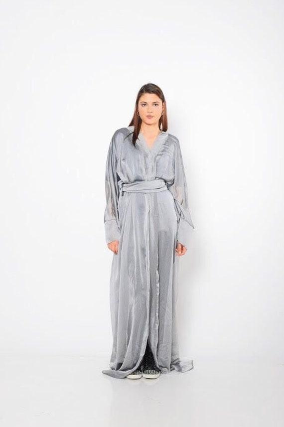 Maxi Dress, Silver Dress, Abaya, Shirt Dress, Kaftan Dress, Plus Size  Clothing, Long Boho Kaftan, Silver Maxi Dress, Bohemian Clothing
