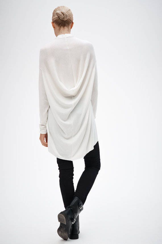 Tunic Off Blouse Loose Off Asymmetrical White Draped Dress Long Casual Top White Sleeved Dress PO5wa5