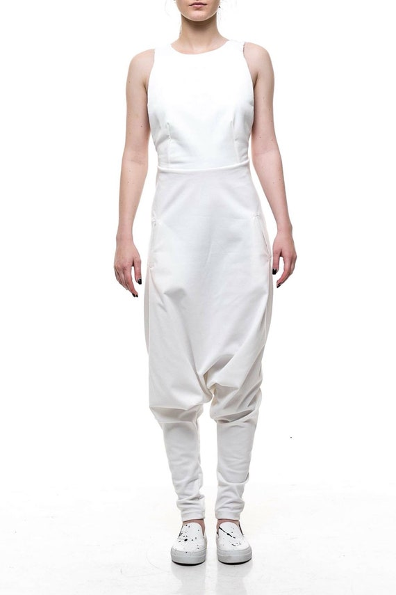 Jumpsuit Women, White Jumpsuit, Plus Size Clothing, Harem Jumpsuit,  Sleeveless Jumpsuit, White Overall, Steampunk Clothing, Women Overall
