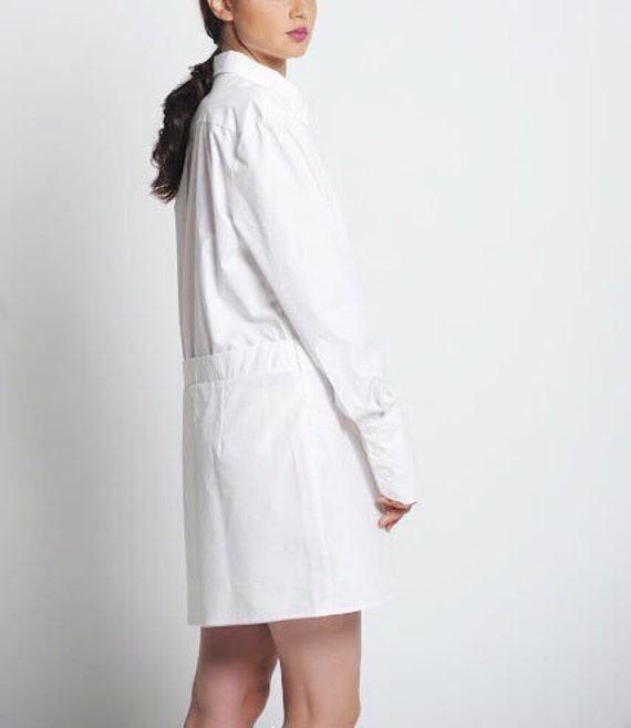 White Shirt Dress For Women, Plus Size Mini Dress, White Cotton Dress,  White Summer Dress, White Short Dress,Plus Size Clothing,Collar Dress