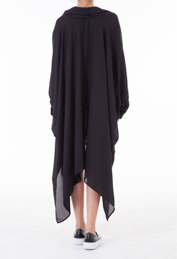 Sheer Oversized Long Dress Tunic size Dress Plus Black Assymetric Tunic tunic Loose BOCnqq68