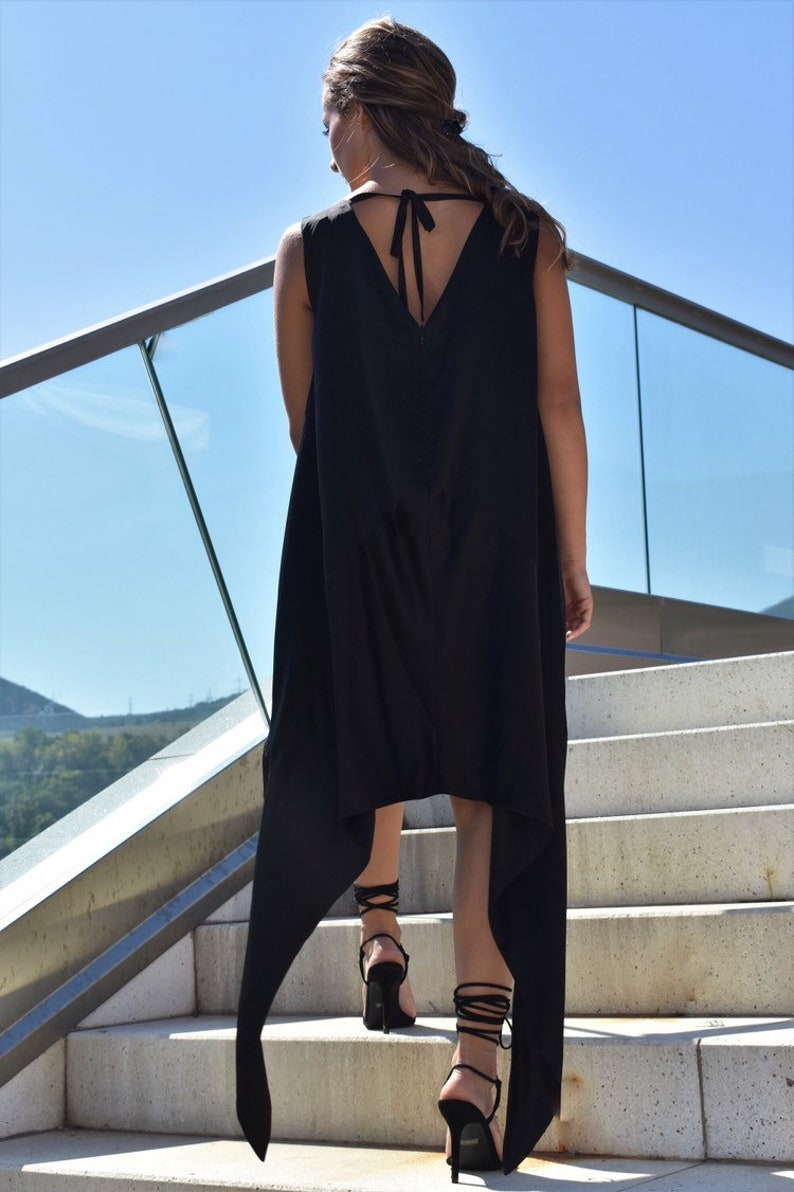 Asymmetrical Dress Black Tunic Dress Gothic Black Dress Loose Fit Dress Sleeveless Tunic Dress Extravagant Tunic Plus Size Dress