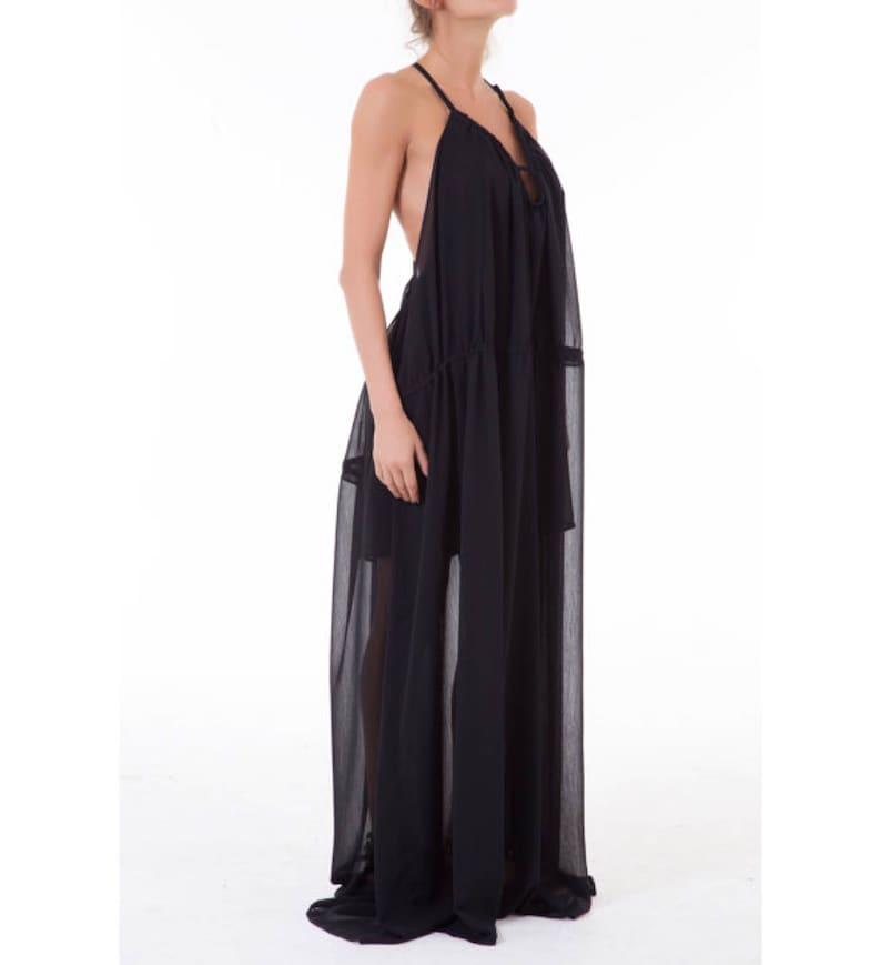 am besten einkaufen anders extrem einzigartig Maxikleid schwarz / lange lose Kleid / Oversize Kaftan Kleid / Plus size  Chiffon Kleid / schiere Kleid / Sexy Kleid / Extravagant Kleid / Party  Kleid ...