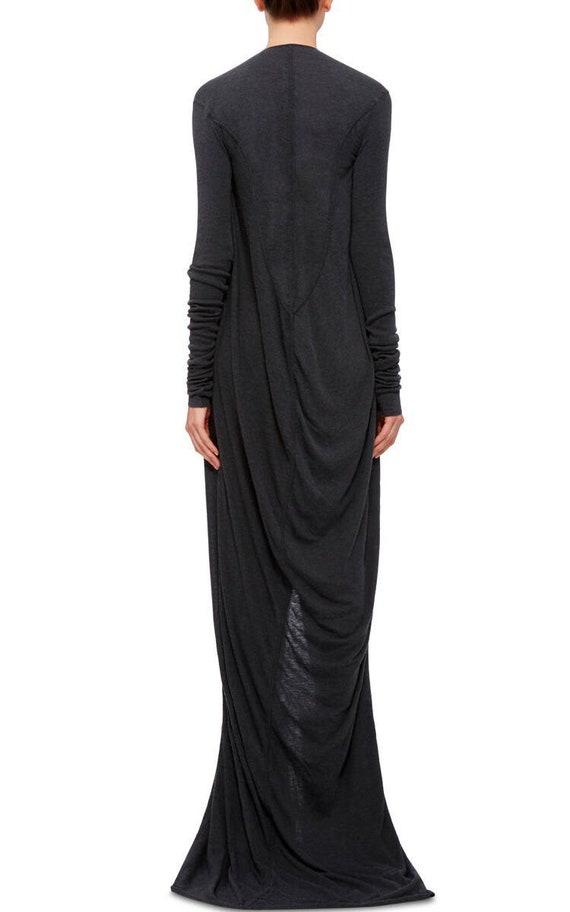 neck Floor dress Avant Black Long Draped loose dress length dress gown V size Plus Long dress kaftan garde dress maxi dress wvwTqZ