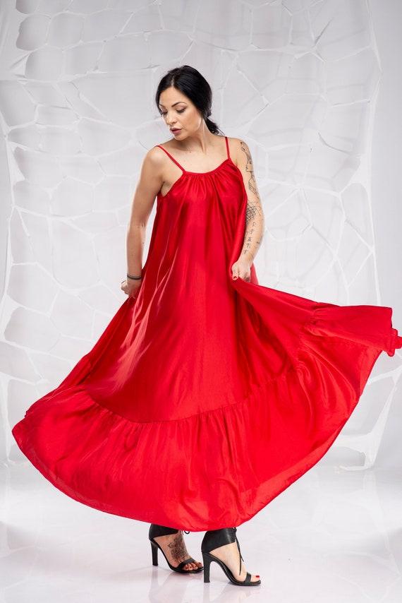 Red Maxi Dress, Plus Size Maxi Dress, Plus Size Clothing, Silk Dress, Boho  Maxi Dress, Satin Dress, Romantic Dress, Swing Dress, Tank Dress