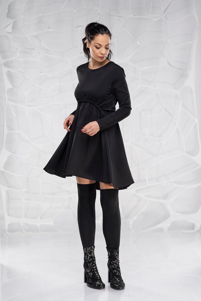 Little black dress, Gothic dress, Cotton dress,Women clothing,Short black  dress,Long sleeved dress,Spring dress, Knee length dress,Plus size