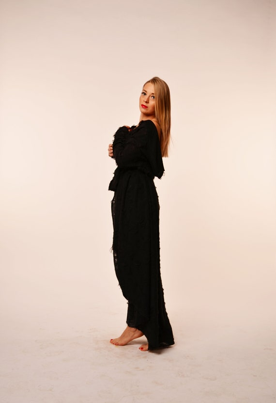 Black Maxi Black Extravagant vest vest cardigan vest Loose Asymmetric top maxi wear Extravagant long vest rpT8qr