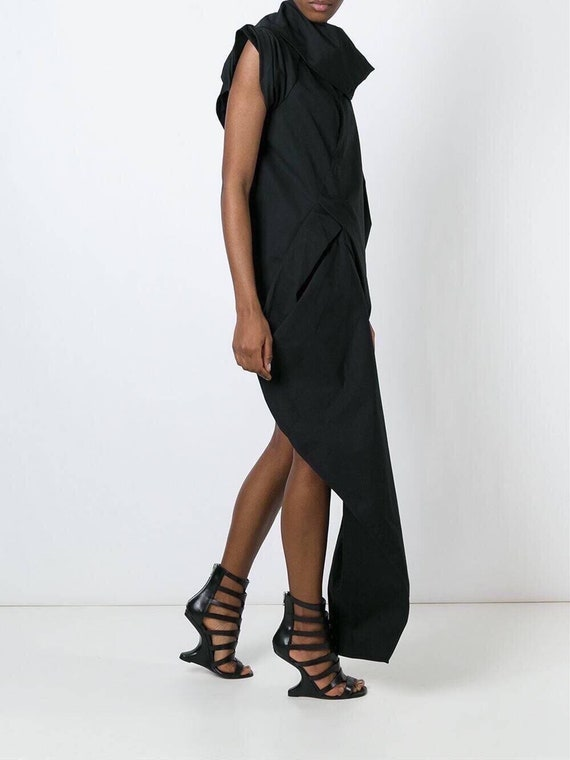 Black Assymetrical maxi dress draped dress dress dress Cowl Eve New Cocktail dress Extravagant dress loose neck Party Year's qwCqR