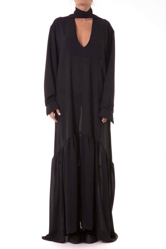 Maxi Dress Black, Women Oversize Dress, Plus Size Clothing, Black Kaftan,  Chiffon Maxi Dress, Floor Length Dress, Loose Black Dress, Long