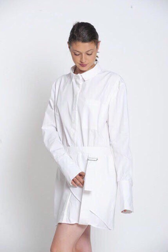 White Shirt Dress For Women, Plus Size Mini Dress, White Cotton Dress,  White Summer Dress, White Short Dress,Plus Size Clothing,Collar Dress