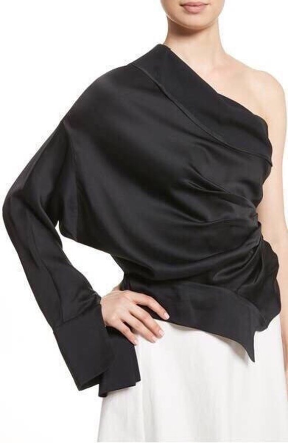 fashion tunic design One Deconstructed Satin top black top Asymmetric clothing Twisted Draped shoulder Loose tunic top black Designer qTtST